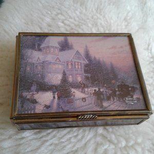 *  Thomas Kinkaid Vintage Glass/Metal Trinket Box